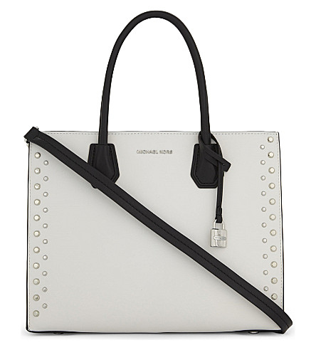 MICHAEL MICHAEL KORS Mercer leather tote (Optic+white