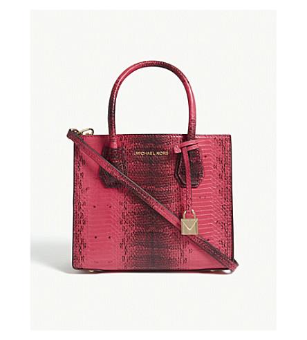MICHAEL MICHAEL KORS Mercer snake-embossed leather tote bag (Ultra+pink