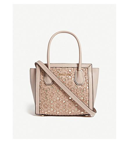MICHAEL MICHAEL KORS Mercer medium floral leather messenger bag (Soft+pink