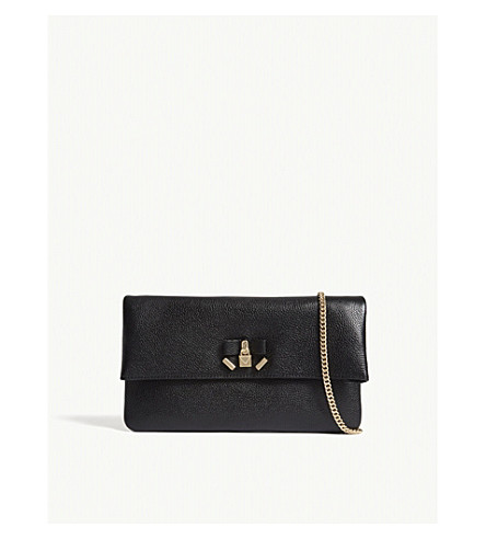 MICHAEL MICHAEL KORS Everly leather clutch bag (Black