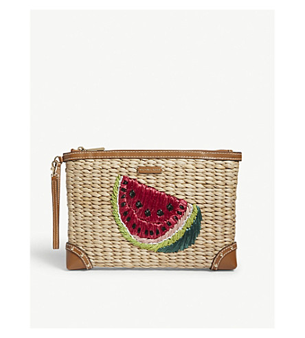 MICHAEL MICHAEL KORS Watermelon embroidered straw clutch (Ultra+pink
