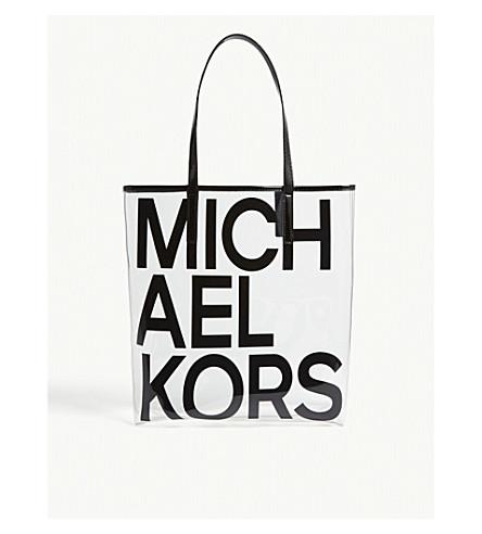 MICHAEL MICHAEL KORS 标志大透明手提包 (黑色