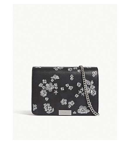 MICHAEL MICHAEL KORS Jade floral-embroidered leather cross-body bag (Black