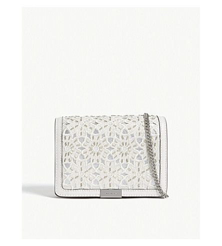 MICHAEL MICHAEL KORS Jade medium floral leather clutch (Optic+white