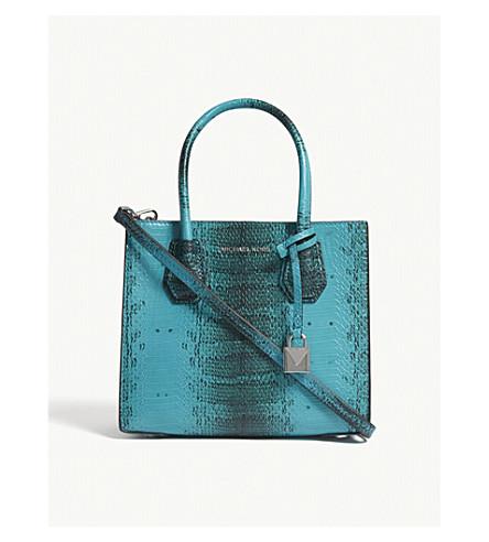 MICHAEL MICHAEL KORS Mercer snake-embossed leather tote bag (Tile+blue