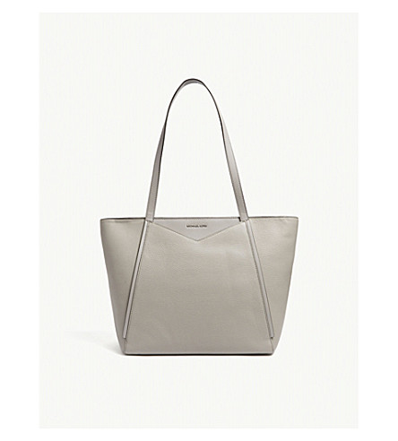 MICHAEL MICHAEL KORS Whitney large grained leather tote (Pearl+grey