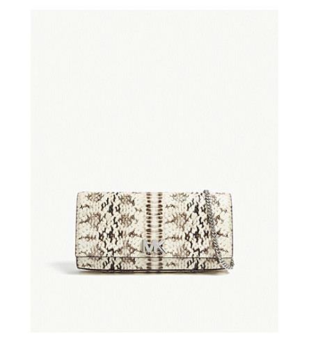 ... MICHAEL MICHAEL KORS Mott snake-embossed leather clutch (Natural.  PreviousNext d2506fcacc