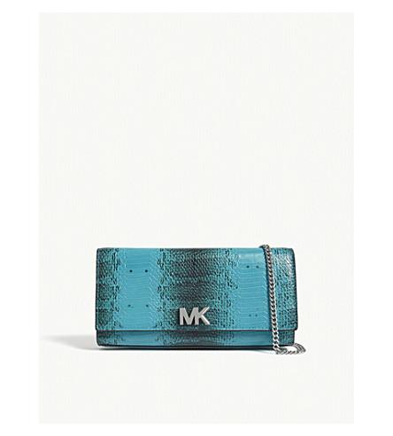 MICHAEL MICHAEL KORS Mott snake-embossed leather clutch (Tile+blue