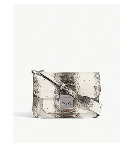 MICHAEL MICHAEL KORS Sloan Editor large snakeskin-embossed shoudler bag (Natural