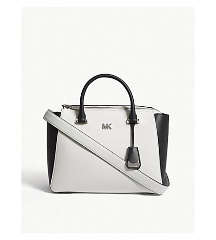 MICHAEL MICHAEL KORS Mott Metro medium leather satchel (Opticwht/blk