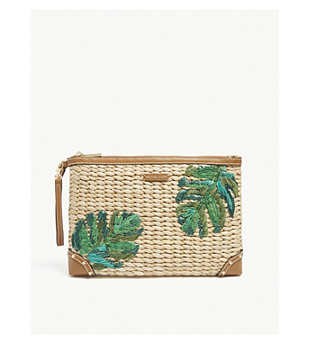 MICHAEL MICHAEL KORS Leaf embroidered straw clutch bag (Natural