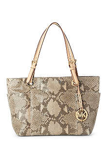 MICHAEL KORS Jet Set top-zip mock-python tote