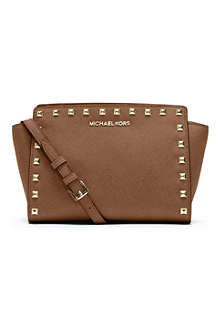 MICHAEL KORS Selma studded saffiano messenger bag