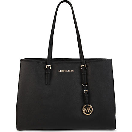 MICHAEL KORS Jet Set Travel large saffiano leather tote (Black