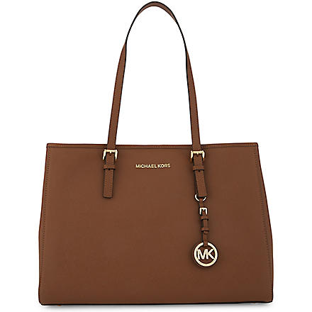 MICHAEL KORS Jet Set Travel large saffiano leather tote (Luggage