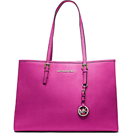 MICHAEL MICHAEL KORS Jet Set Travel large saffiano leather tote (Raspberry