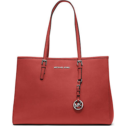 MICHAEL KORS Jet Set Travel large saffiano leather tote (Mandarin