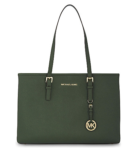 MICHAEL MICHAEL KORS Jet Set Travel large leather tote (Moss