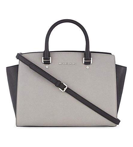 MICHAEL MICHAEL KORS Selma large leather shoulder bag (Pgrey/black
