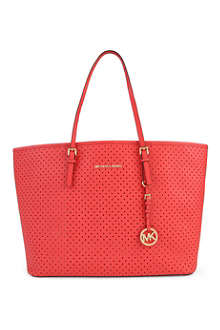 MICHAEL KORS Jet Set Travel medium perforated leather tote
