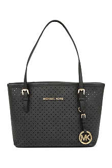 MICHAEL KORS Jet Set Travel mini perforated leather tote