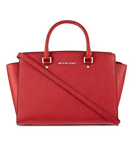 MICHAEL MICHAEL KORS Selma saffiano leather messenger (Scarlet