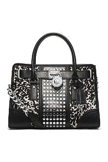 MICHAEL KORS Studded cow-print satchel