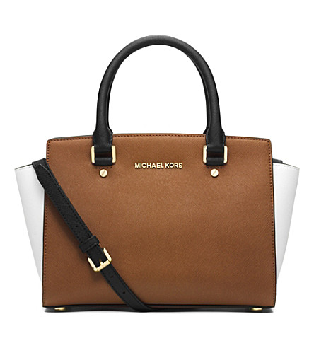 MICHAEL MICHAEL KORS Selma leather messenger bag (Lugg/wht/blk