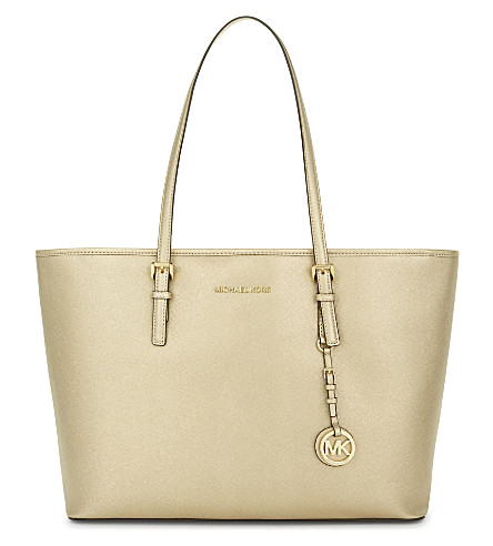 MICHAEL MICHAEL KORS Jet Set Travel medium Saffiano leather tote (Pale+gold