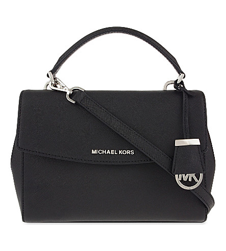MICHAEL MICHAEL KORS Ava small saffiano leather satchel (Black