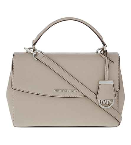MICHAEL MICHAEL KORS Ava small saffiano leather satchel (Cement