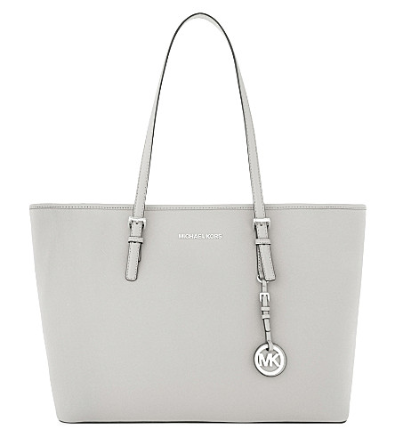 MICHAEL MICHAEL KORS Jet Set Travel Saffiano leather tote (Aluminum
