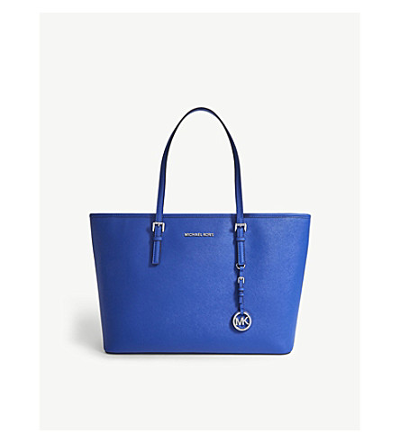 MICHAEL MICHAEL KORS Jet Set East West Saffiano leather tote (Elctric+blue