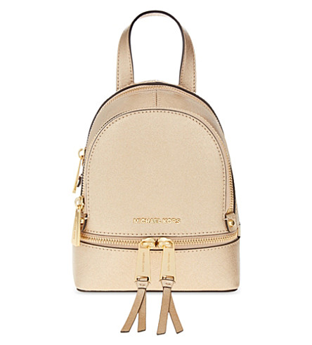 MICHAEL MICHAEL KORS Rhea extra-small leather backpack (Pale gold