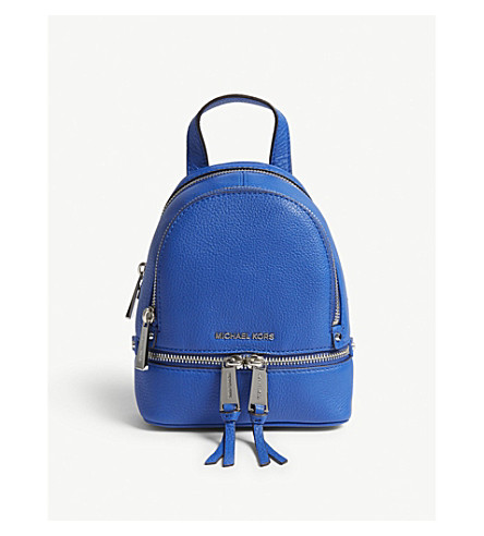 MICHAEL MICHAEL KORS Rhea extra-small grained leather backpack (Elctric+blue