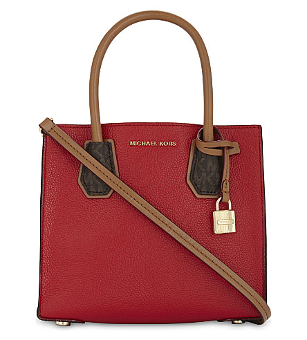 MICHAEL MICHAEL KORS Mercer medium leather tote (Bright+red/sig