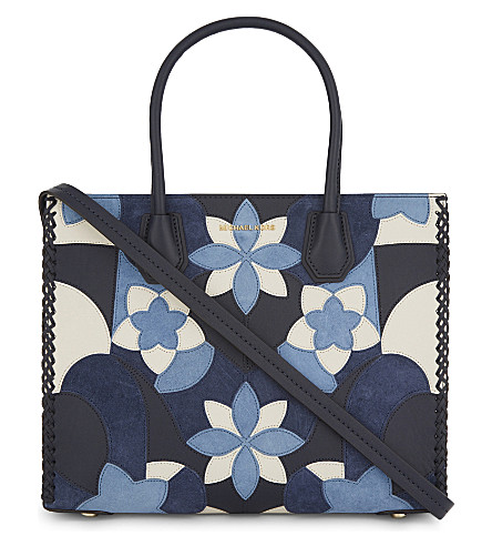 MICHAEL MICHAEL KORS Mercer large leather and suede floral tote (Admiral