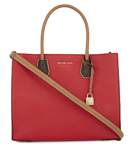 MICHAEL MICHAEL KORS Mercer convertible leather tote (Bright+red