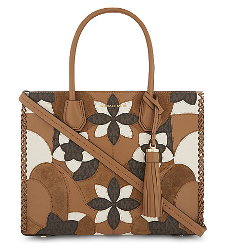 MICHAEL MICHAEL KORS Mercer large leather and suede floral tote (Acorn