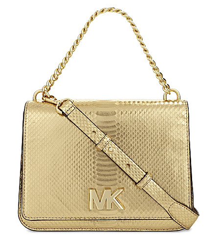 MICHAEL MICHAEL KORS Snake-embossed leather clutch (Pale+gold
