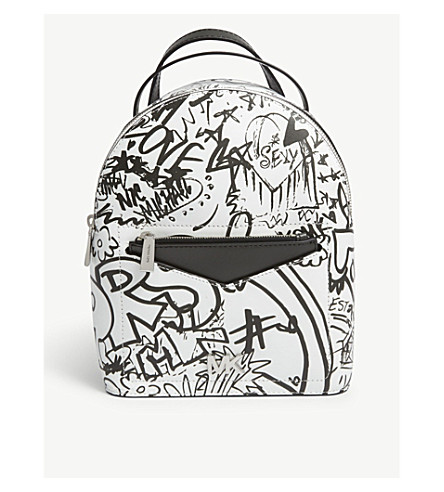 MICHAEL MICHAEL KORS Jessa 涂鸦打印小皮革横体背包 (光学 + 白色