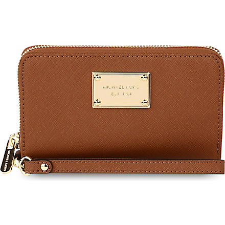 MICHAEL KORS Multifunctional saffiano leather phone case (Luggage