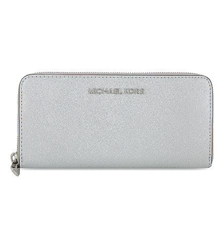 MICHAEL MICHAEL KORS Jet Set Travel continental zip around wallet (Silver