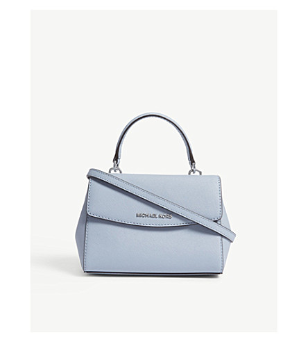 MICHAEL MICHAEL KORS Ava extra-small Saffiano leather cross-body bag (Pale+blue