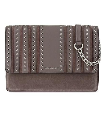 MICHAEL MICHAEL KORS Brooklyn large leather & suede cross-body bag (Cinder