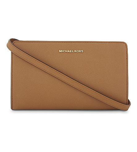 MICHAEL MICHAEL KORS Jet Set Travel leather clutch (Acorn