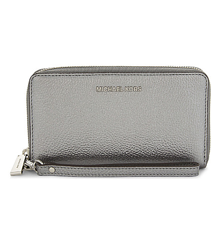 MICHAEL MICHAEL KORS Mercer large metallic grained leather multi-function wallet (Lt+pewter