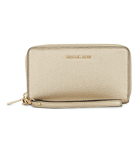 MICHAEL MICHAEL KORS Mercer large metallic grained leather multi-function wallet (Pale+gold
