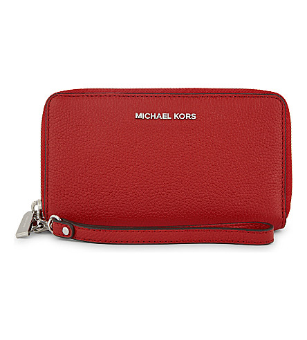 MICHAEL MICHAEL KORS Mercer large leather wallet (Bright+red