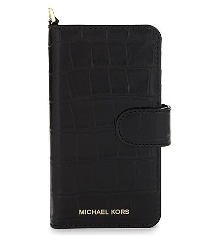 MICHAEL MICHAEL KORS Crocodile-effect iPhone 7 folio case (Black